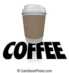 kávécserje, szó, csésze, ital, reggel, ital, műanyag