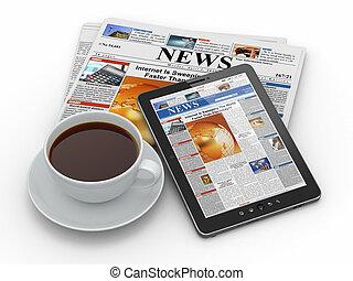 kávécserje, tabletta, csésze, reggel, számítógép, újság, news.