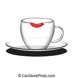 kávécserje, tea, vektor, üres, csésze