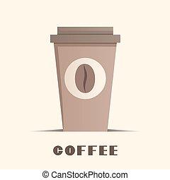 kávécserje, vektor, ábra