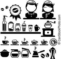 kávécserje, vektor, állhatatos, ikonok