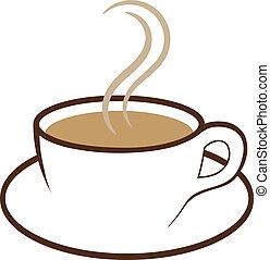 kávécserje, vektor, csésze