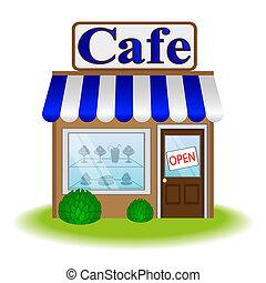 kávéház, épülethomlokzat, ikon, vektor