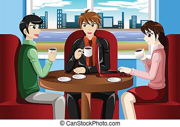 kávéház, gyűlés, ügy emberek