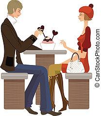 kávéház, párosít, ülés