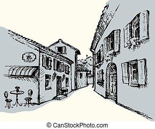 kávéház, város, vektor, öreg, rajz, utca.