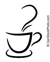 kávéscsésze, ábra, háttér, fekete, fehér