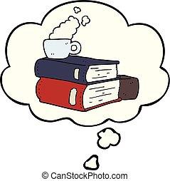 kávéscsésze, gondolkodás, előjegyez, buborék, karikatúra