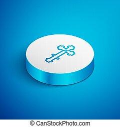kék, ábra, button., templom áthalad, ikon, vektor, isometric, keresztény, elszigetelt, egyenes, cross., fehér, háttér., karika