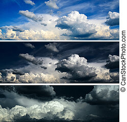 kék, állhatatos, ég, stormy ég, -, drámai