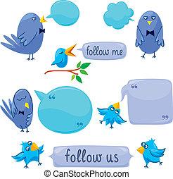 kék, állhatatos, festékfoltok, madarak