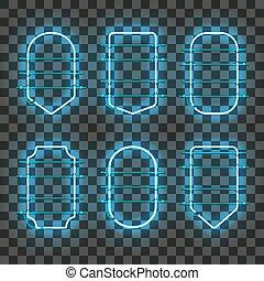 kék, állhatatos, neon, gyakorlatias, izzó, keret