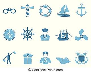 kék, állhatatos, vitorlázás, ikonok