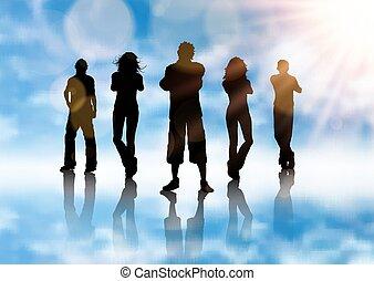 kék, árnykép, háttér, csoport, emberek, ég