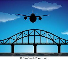 kék, árnykép, repülés, ég, színhely, repülőgép