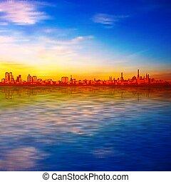 kék, árnykép, város, eredet, elvont, napnyugta, háttér, ég
