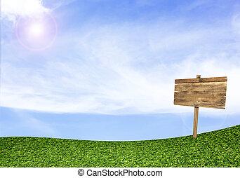 kék ég, aláír, mező, erdő, zöld háttér, alatt