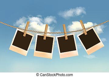 kék ég, clouds., odaköt, fénykép, retro, vector., függő, elülső