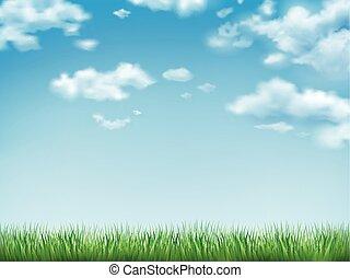 kék ég, fű, zöld terep