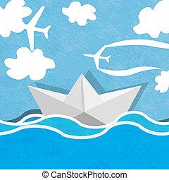 kék ég, felhős, óceán, dolgozat, háttér, planes., csónakázik