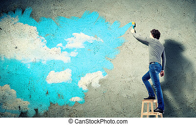 kék ég, fiatal, felhős, rajz, ember