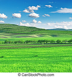 kék ég, mező, hegyek