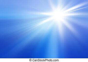 kék ég, nap kiszélesedés, küllők
