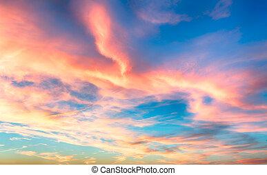 kék ég, -, napnyugta, piros