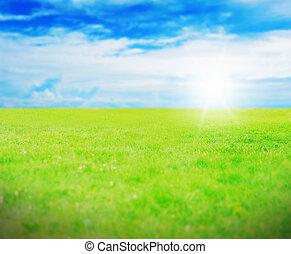 kék ég, napos, ellen, zöld fű