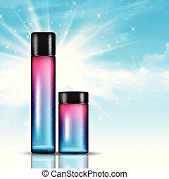 kék ég, palack, kozmetikai, háttér