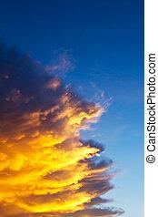 kék ég, sárga, befest, napnyugta, narancs