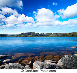 kék ég, tó, felhős, alatt, idill