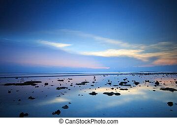 kék ég, tropikus, körképszerű, drámai, napnyugta, tenger