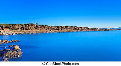 kék ég, világos, sóvárog erdő, hintáztatni, óceán, tengerpart, napnyugta