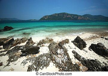 kék ég, világos, tengerpart, sziklás