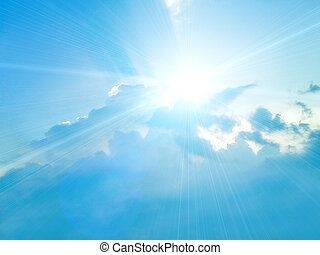 kék ég, white felhő, háttér