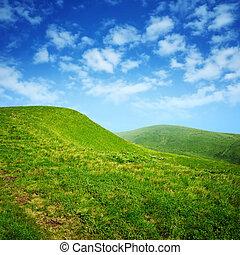kék ég, zöld, elhomályosul, dombok