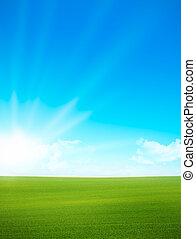 kék ég, -, zöld terep, táj