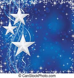kék, ékezetez, csillaggal díszít, occasions., tél, transparencies., fény, ünnepies, megvonalaz, hó, /, karácsony, hullámos, pehely, nem, háttér, -e