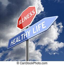 kék, élet, betegség, egészséges, aláír, piros, szavak, út