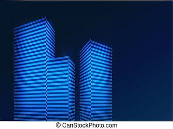 kék, épület., elvont, ábra, vektor, háttér