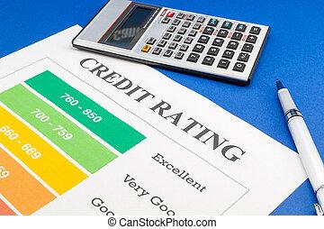 kék, értékelés, hitel, notebook., akol, asztal