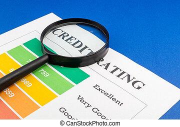 kék, értékelés, magnifier., asztal, hitel