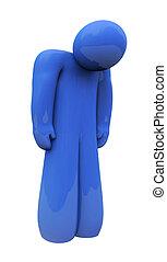 kék, érzelem, elszigetelt, bús, személy, egyedül, érzések, depresszió