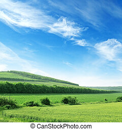 kék, óriási, ég, terep