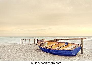 kék, öreg, fából való, sárga, meleg, napnyugta, white tengerpart, csónakázik