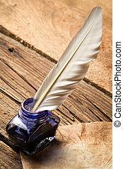 kék, öreg, szüret, levél, tinta, tollazat