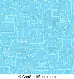 kék, ügy, motívum, seamless, e-commerce, híg, online, egyenes, kiskereskedelem