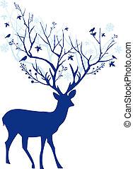 kék, őz, vektor, karácsony
