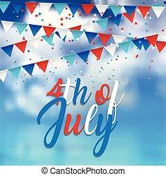 kék, 2905, pennants, ég, 4, tervezés, háttér, konfetti, július
